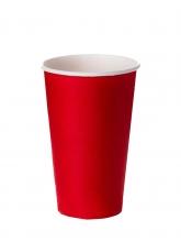 Стакан картонный одинарный под горячие напитки Паперскоп Красный, 250 мл, 50 шт./упак.